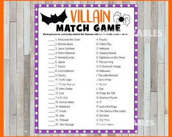 villain match game party game printable pdf printable halloween game answers included instant download
