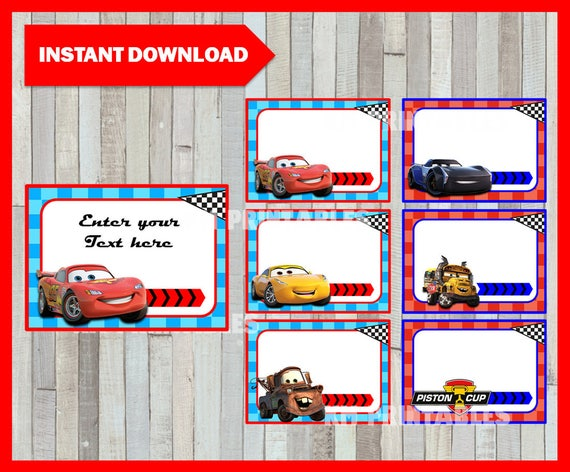 Disney Cars 3 School Label Name Label Name Tag Sticker Etsy
