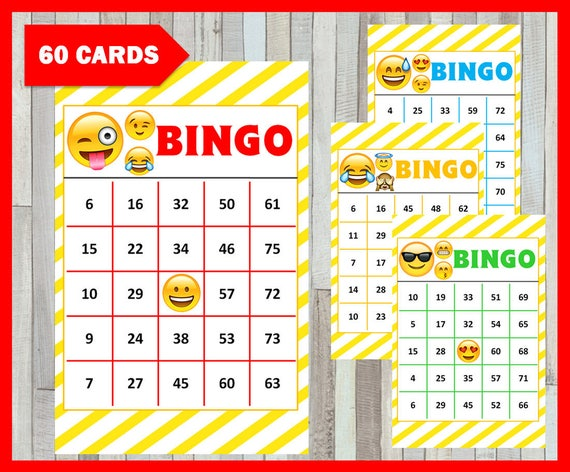 photograph regarding Printable Number Bingo Cards 1 75 titled Emoji Bingo Match 60 playing cards, Emoji Bingo playing cards immediate obtain, Printable Emoji bash Bingo recreation