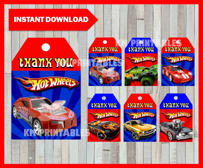 photo about Hot Wheels Printable identified as Printable Incredibly hot Wheels Thank your self Tags fast down load, Sizzling Wheels celebration Tags, Printable Warm Wheels Reward Tags