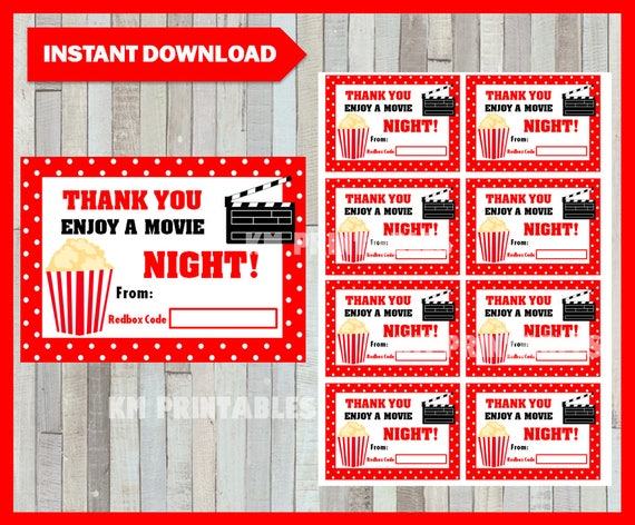 photo regarding Printable Redbox Gift Cards known as Redbox Present Card immediate down load , Printable Instructor Appreciation Reward playing cards, Printable Redbox Delight in a Online video Evening playing cards