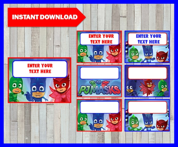 picture about Pj Masks Printable Images called Pj masks Printable Playing cards, tags, ebook labels, stickers, youngsters playing cards, reward tags, labeling, sbooking EDITABLE Instantaneous Obtain