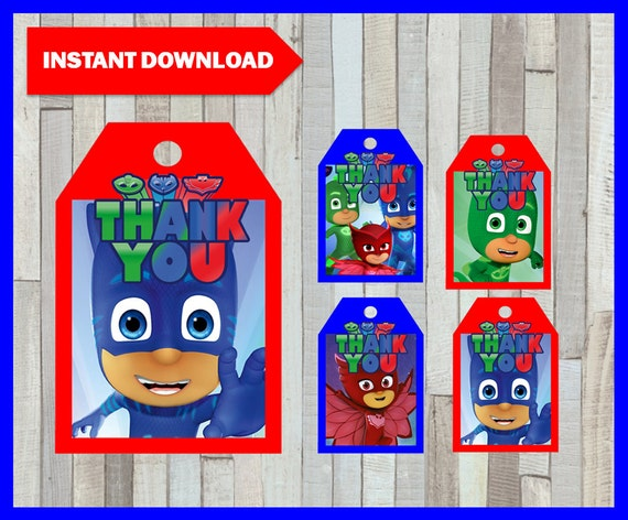 picture regarding Printable Pj Masks named Printable Pj masks Thank your self Tags instantaneous down load, Pj masks get together Tags, Printable Pj masks Present Tags