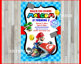 Mario Kart Invitations Mario Kart Birthday Invitations Mario
