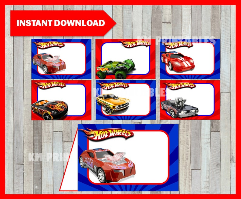 graphic relating to Hot Wheels Printable known as Printable Warm Wheels Meals labels prompt obtain, Very hot Wheels bash Meals tent playing cards, Printable Scorching Wheels Tent playing cards