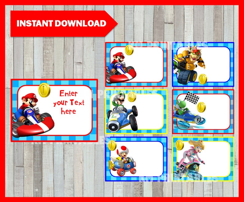 Printable Mario Kart Cards, tags, book labels, stickers, kids cards, gift  tags, labeling, scrapbooking EDITABLE INSTANT DOWNLOAD