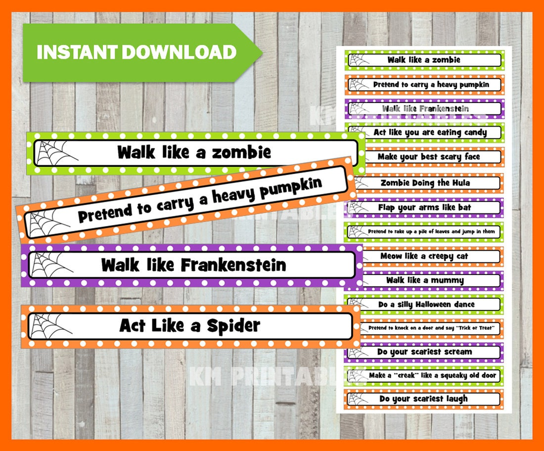 instant download halloween charades party game printable pdf | etsy