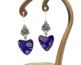 Tropical foliage polymer clay earrings