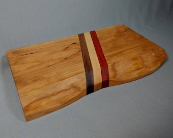 Live Edge Serving/Cutting Board: Cherry, Walnut, Maple, & Padauk