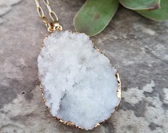 White Natural Druzy Geode Gemstone on Gold Chain. Raw Gemstone. Long Necklace. 285