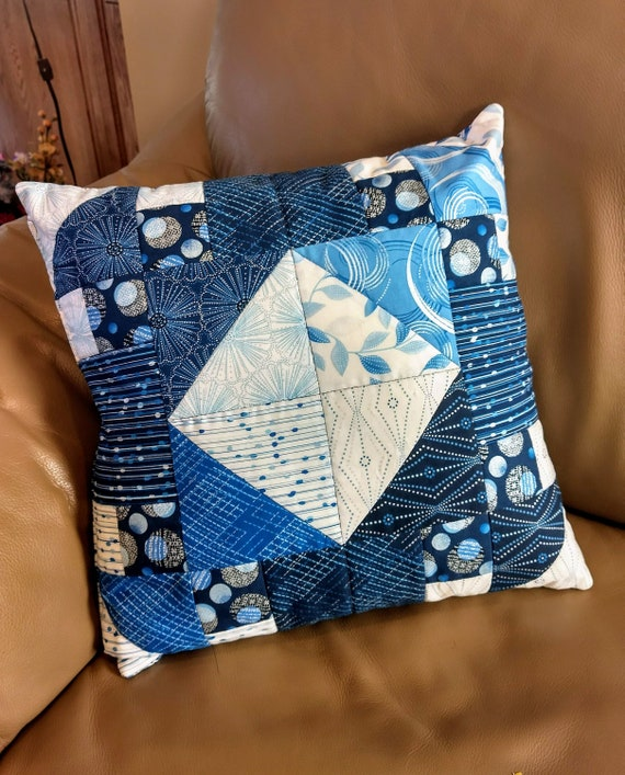 Quilted Pillow Cover 40 X 40 Decorative Pillow Blue Pillow Classy Decorative Quilted Pillows