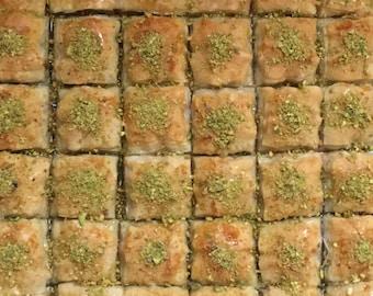 Turkish Homemade Baklava from Turkish Family - 16 oz (12-14 Square Baklava)