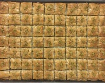 Turkish Homemade Baklava from Turkish Family - 48 oz - 3 lb (36-38 Square Baklava)