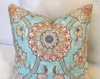 Multicolored Botanical Print Aqua Blue Throw Pillow w/ Brass Zipper - colorful throw pillow