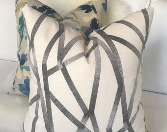 Cream & Charcoal Gray Throw Pillow in Abstract Pattern w/ Brass Zipper