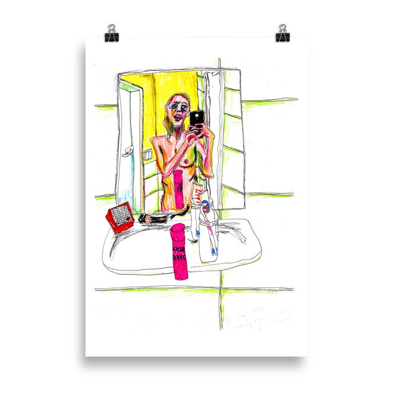 Morning Glory Hangover Poster Berlin illustration bathroom selfie the morning after a party