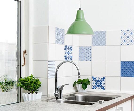 Tegel Decoratie Stickers : 9 nordic design tegel stickers blauwe patronen design etsy