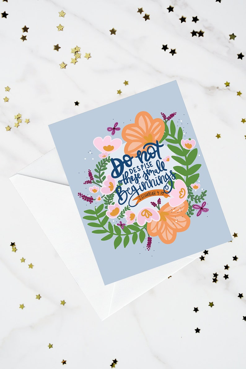 Encouragement Card Zechariah 4 10 Affirmation Card Scripture Card Graduation Card Bible Verse Card Friendship Card New Job Card