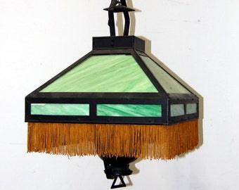 Antique Original Stained Glass Light Fixture, Vintage Lighting