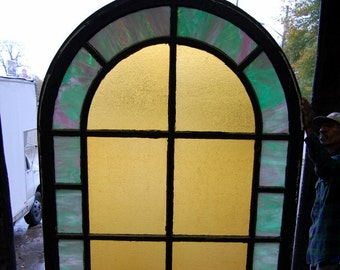 Original Antique 1890s Stained Glass Arched Window, Architectural Salvage