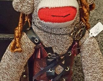 Steampunk sock monkey, sock monkey, steampunk, monkey, stuffed animal, victorian,  stuffed monkey, red heal socks, socks,