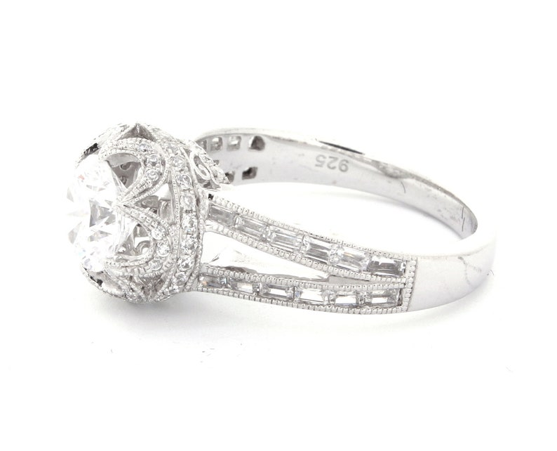 1.0Ct Round With Accent Cz Sterling Silver Engagement Ring