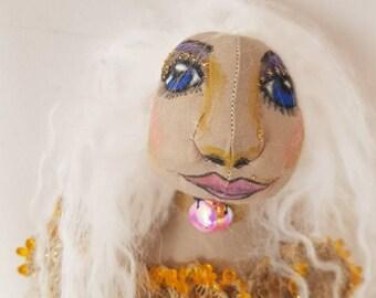 Mermaid art cloth doll, soft sculpture doll, heirloom doll, decorative, collectable doll, ooak doll