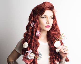 Mermaid wig with tight curls