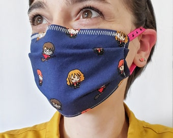 Harry Potter Cotton Fabric Face Mask - Fashion, Non-Medical, Personal Use Face Masks with Elastic Ear Loops