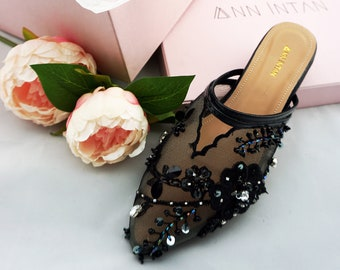 d97d427c3d2d Black Embroidered Lace Comfortable Wedding   Bridal Flats - Custom available