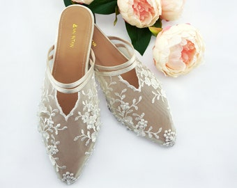 1feb569fe Ivory or White Embroidered Lace Comfortable Wedding   Bridal Flats - Custom  available