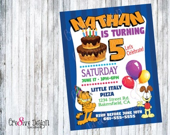 Garfield Odie Birthday Custom Printable Invitation And Show