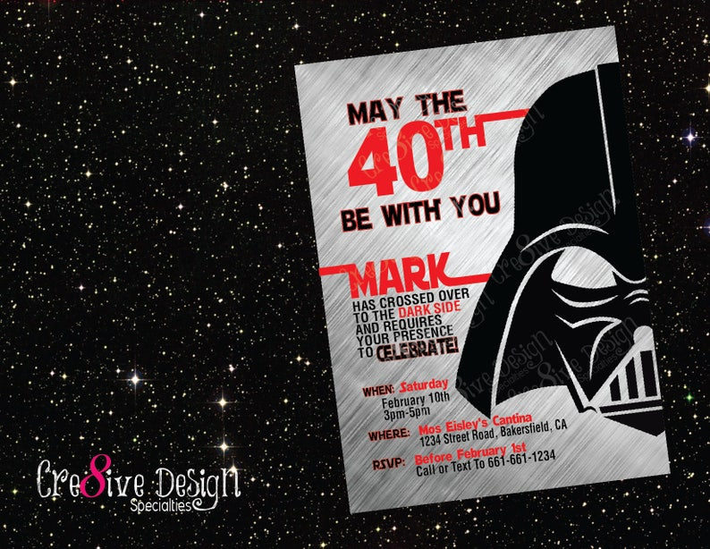 May The Fortieth 40th Be With You Star Wars Birthday Printable