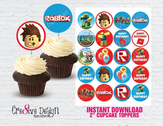 Roblox Birthday Cupcakes Roblox Cupcake Toppers Roblox Birthday Roblox Party Roblox Etsy