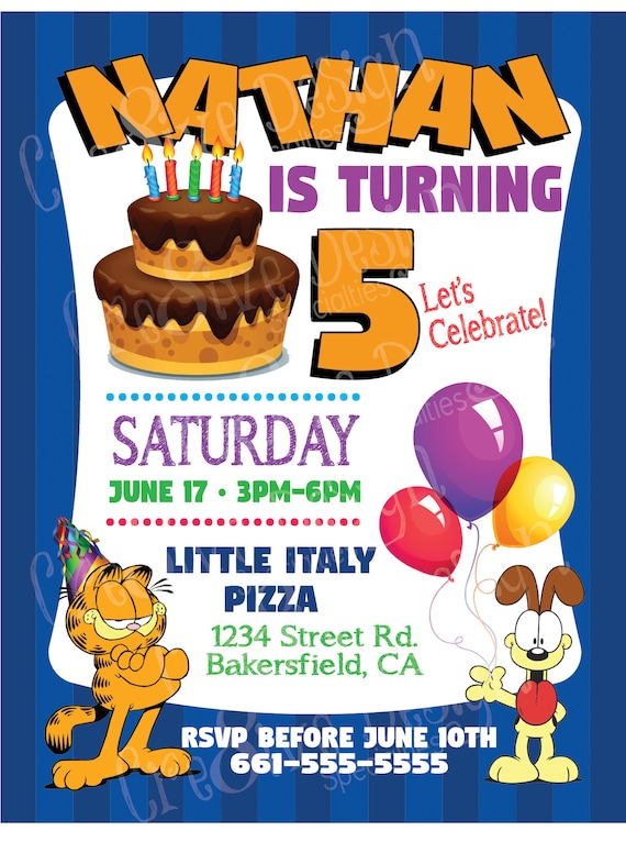 Garfield Odie Birthday Custom Printable Invitation Garfield Etsy