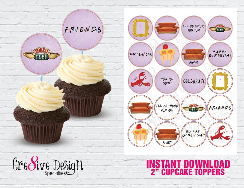 Joey Friends cake and cupcake toppers Personalised Ross Central Perk Monica