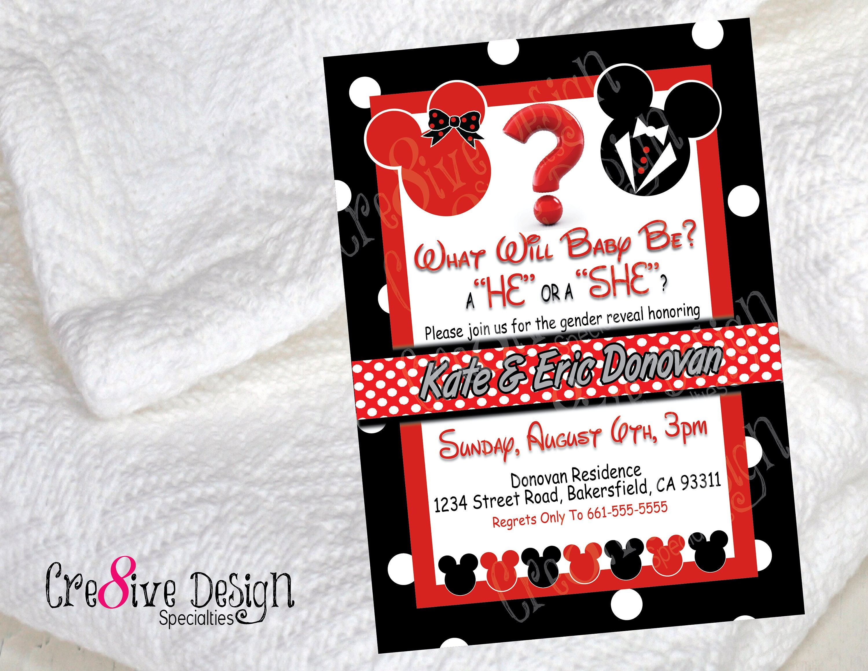 Mickey & Minnie Mouse Baby Gender Reveal Party Invitation | Etsy