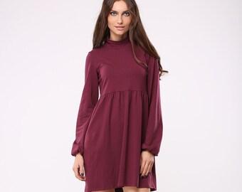 Tricot high neck marsala dress | Tricot turtleneck marsala dress