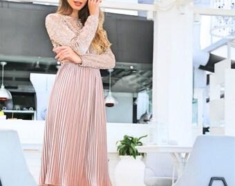 Champagne sequins velvet dress with pleated skirt