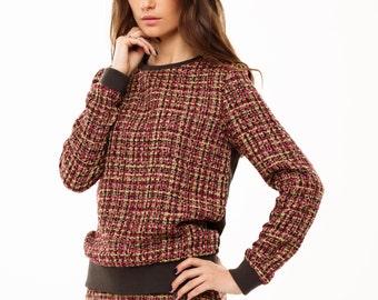Sweatshirt from wool and velvet