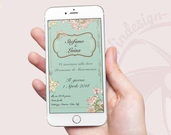 Invito Whatsapp Elegant/Vintage Festa / Party Promessa di Matrimonio Personalizzabile - Whatsapp Invitation, festa, idea festa,flower