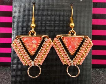 Brickstitch salmon and gold earrings