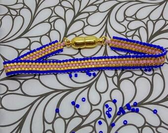 Brickstitch bracelet Navy Blue, pink and gold