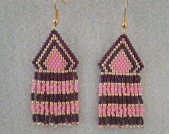 Earrings fringes in brickstitch