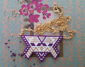 Collar bib weaving brickstitch purple gold and white