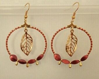 Leaf charm Burgundy and gold hoop earrings