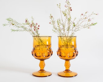 Amber Glass Goblet Pair