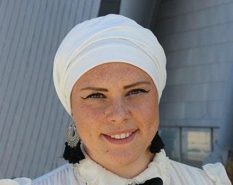 White French Beret, White Turban Hat, Winter Hat, Chemo Cap, Boho hat, Fabric beret, Jewish head covering, turban hijab,White Hairband
