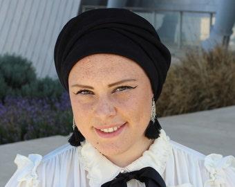 Black French Beret, Vintage Look Beret Hat, Winter Hat, Black beret, Chemo Cap, Fabric beret, Jewish head covering, turban hijab, Hairband