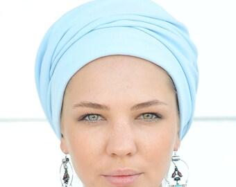 French Beret, light blue Turban Hat, Winter Hat, Chemo Cap, Boho hat, Fabric beret, Jewish head covering, turban hijab,blue Hairband